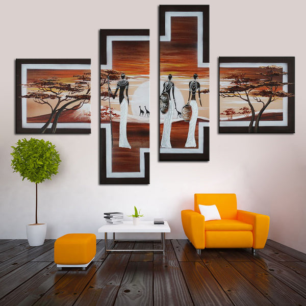 4 Piece Oil Painting Set Hand Painted African Life Abstract Oil Painting on Canvas African Women Pictures for Bedroom Decorative - On Trends Avenue