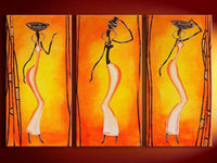 3 Panel Pictures African Women Figure Painting Hand painted Oil Paintings Canvas Wallpaper Modern Home Decor Wall Art Handmade - On Trends Avenue
