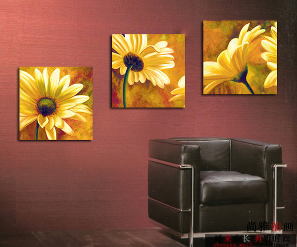 3 pieces African daisy handpainted oil painting set mural wall art entranceway decoration for sale - On Trends Avenue