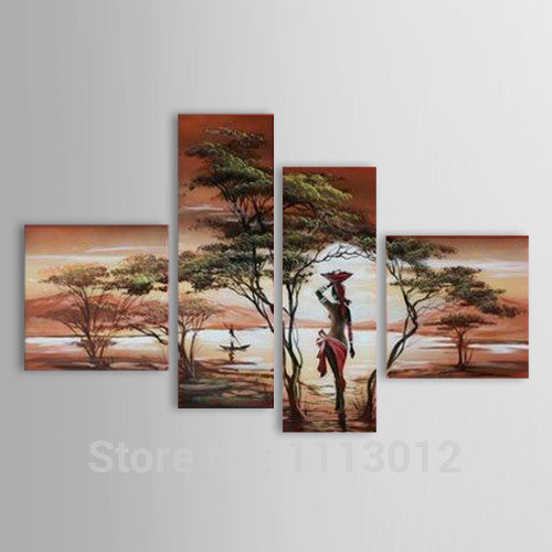 African Modern Abstract Artwork Nude Sexy Women Tree Oil Painting On Canvas 4 Panel Art Set Home Wall Decorative For Living Room - On Trends Avenue