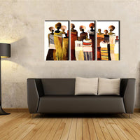 3 piece modern canvas art handmade african women oil painting on canvas for living room wall picture Kitchen decoration - On Trends Avenue