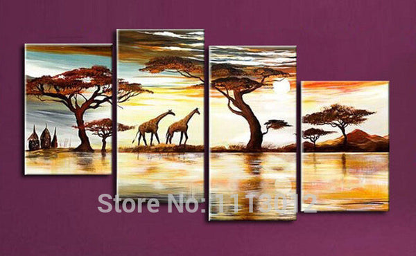 African Modern Abstract Artwork Yellow Tree Giraffe Oil Paintings On Canvas 4 Panel Art Set Home Wall Decorative For Living Room - On Trends Avenue