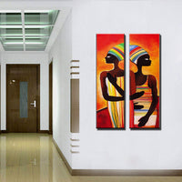 Acrylic african woman painting abstraite modern figure painting vertical handmade decoration oil paintings for living room wall - On Trends Avenue