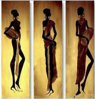 3 pcs Handmade Abstract Oil Painting Canvas Modern Paintings Wall art-African Women I - On Trends Avenue