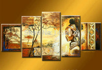 100% hand-painted wall art African home decoration Landscape oil painting on canvas 5pcs/set no framed - On Trends Avenue