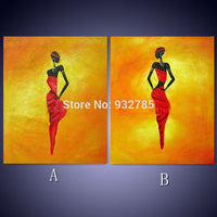 100% handmade African women Oil Painting On Canvas Home hotel Decorative wall Art Picture - On Trends Avenue