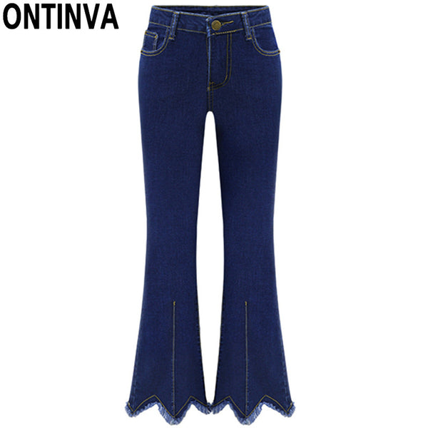 2017 Denim Flare Pants Woman 5XL Plus Size Slim Skinny Jeans High Waist Trousers Women Irregular Bottoms Summer Style - On Trends Avenue