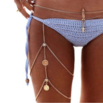 vintage coin multilayer Bohemia chic thigh leg chain punk tassel coin sexy body chain beach fashion body accessories - On Trends Avenue