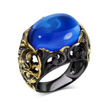 DreamCarnival 1989 Spanish Designer Women Party Ring Black Gold-color Synthetic Blue Oval Stone Cocktail Hiphop Anillos Moda - On Trends Avenue