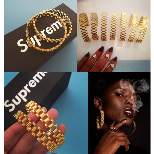 Gold-plated earrings European and American popular fashion street shoot exaggerated black girl hip hop Tide brand big earrings - On Trends Avenue