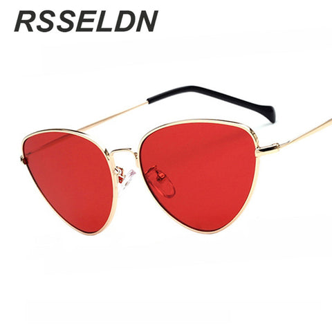 RSSELDN Fashion Red Cat Eye Sunglasses Women Clear Lens Sun Glasses For Women Cat Eye Metal Pink Yellow Female Mirror UV400 - On Trends Avenue