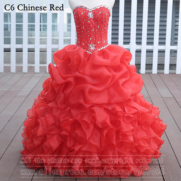 Chinese Red Quinceanera Dresses Ball Gown With Beads Vestido de quinceanera vestidos de noi Vestidos De 15 Anos - On Trends Avenue