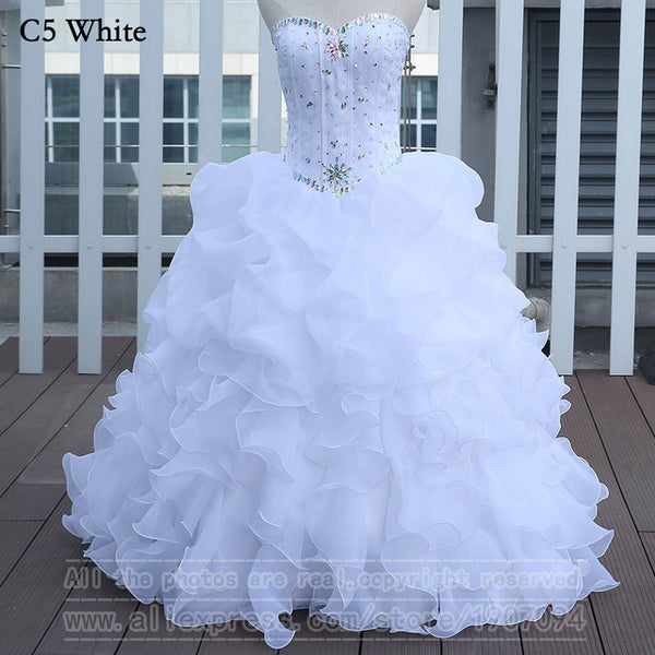 White Quinceanera Dresses Ball Gown With Beads Vestido de quinceanera vestidos de noi Vestidos De 15 Anos - On Trends Avenue