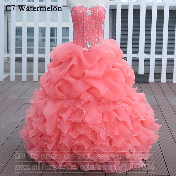 Watermelon Quinceanera Dresses Ball Gown With Beads Vestido de quinceanera vestidos de noi Vestidos De 15 Anos - On Trends Avenue