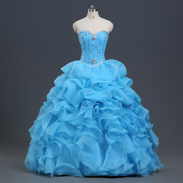 Sky Blue Quinceanera Dresses Ball Gown With Beads Vestido de quinceanera vestidos de noi Vestidos De 15 Anos - On Trends Avenue