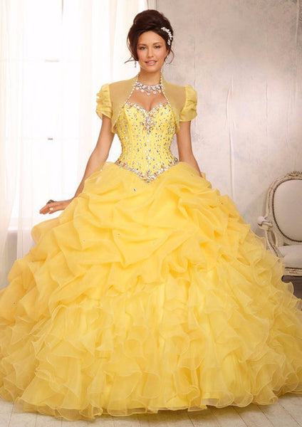 Lemon Quinceanera Dresses Ball Gown With Beads Vestido de quinceanera vestidos de noi Vestidos De 15 Anos - On Trends Avenue