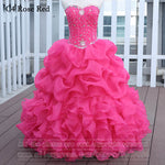 Rose Red Quinceanera Dresses Ball Gown With Beads Vestido de quinceanera vestidos de noi Vestidos De 15 Anos - On Trends Avenue