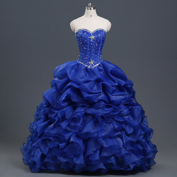 Dark Blue Quinceanera Dresses Ball Gown With Beads Vestido de quinceanera vestidos de noi Vestidos De 15 Anos - On Trends Avenue