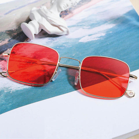 Vintage Square sunglasses women Brand Design retro woman summer clear lens sunglasses with red lenses yellow green Oculos de sol - On Trends Avenue