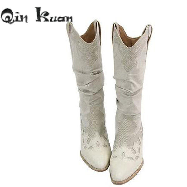 Qin Kuan Women Brand Pointed Toe Western Cowboy Boots Lady Carving  Mid Calf Shoes Girl Square Heel Knight Snow Boots Size 35-40 - On Trends Avenue