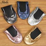 Aohaolee Women Shoes Ballet Flats Portable Fold up Shoe Ballerina Flat Shoes Comfortable Roll Up Prom Bridal Wedding Party Shoes - On Trends Avenue