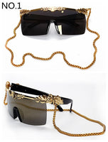 2017 New Arrived Women Sunglasses Brand Designer Steampunk Mens Sunglasses Oversize Sunglasses With Gold Chain Square Sunglasses - On Trends Avenue
