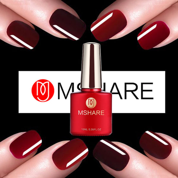 MSHARE 10ml Wine Red Series UV Gel Nail Polish Fingernail Art Manicure Gold Silver Glitter Matte Lasting Germany Materials 008 - On Trends Avenue