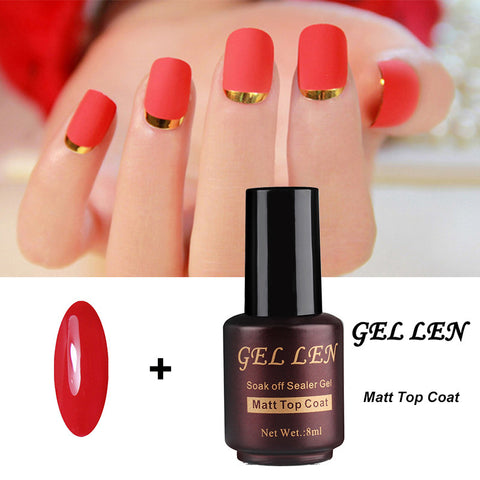 Gel Len Red Color Nail Gel Polish with Clear Matt Matte Top Coat UV Varnish LED Matt Top Gel Soak off Gel Lacquer - On Trends Avenue