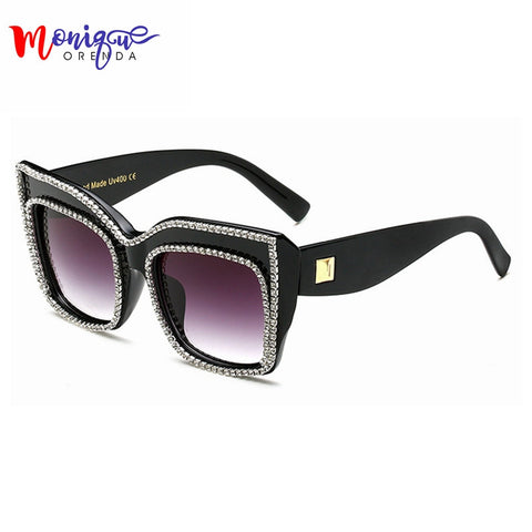 Newest Oversize Luxury Women Jewelry Sunglasses Bling Rhinestones Brand Design Vintage Shades Ladies BIG sun glasses Gafas - On Trends Avenue