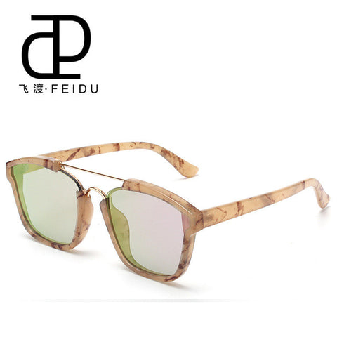FEIDU Vintage ABSTRACT Sunglasses Women Brand Designer Oversize Flat Lens Sun Glasses For Women Oculos De Sol Feminino With Box - On Trends Avenue