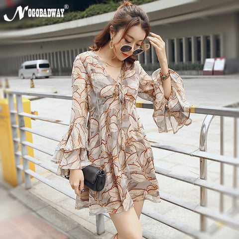 NOGOBADWAY summer chiffon casual dress for women 2017 bohemian long flare sleeve boho short dresses mini print beach robe femme - On Trends Avenue