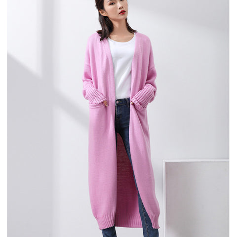 Casual Women Long Knitted Cardigan V-Neck Wool Blends Thick Sweater Coat Fall And Winter Solid Female Elegant Pockets Outerwear - On Trends Avenue
