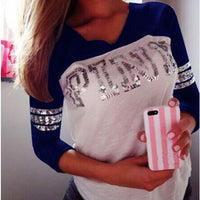 18Styles Women English Letter Pink Print Long Sleeve Hoodie Pullover Sweatshirt Casual Hooded Top Lady - On Trends Avenue