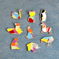 1 piece Cartoon Origami Animal Metal Enamel Button Pins Badge Rabbit Swan Whale Fox Squirrel Horse Penguin Brooch Jeweley - On Trends Avenue