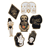 7pcs/set Hard enamel pins Goth punk skull brooch lapel pin Halloween pin button badges Jewelry for him Cool gifts - On Trends Avenue