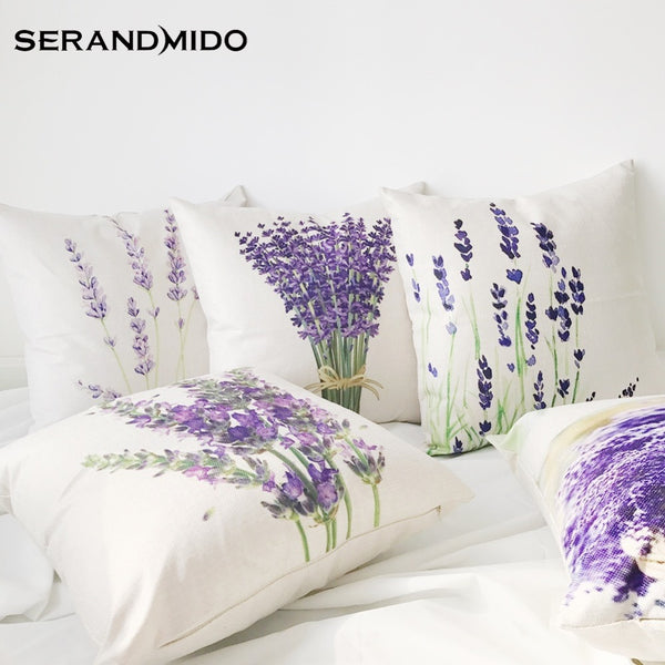 Hot Selling Purple Lavender Flowers Waist Cushion Cases Elegant Linen Cotton Pillow Covers for Bedding Home Decor SMC1731T-90