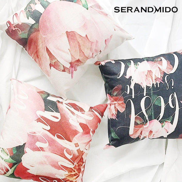 Pink Floral Cushion Covers for Bed Car Printed Home Decor Sofa Chair Modern Fashion Cushion Coussin Decoration SMC1740T-90