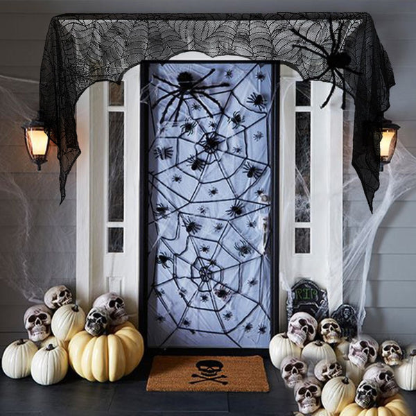 black spider fireplace mantel scarf halloween decorations for home horror halloween decoration party supplies 18890cm