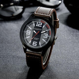 2017 Luxury Brand Watch Men Military Watches Men's Quartz-watch PU Leather Hour Clock Male Wrist Watch Relogio Masculino #53 - On Trends Avenue