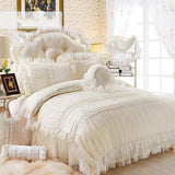 Beige Lace Princess Quilt/duvet cover king queen 4/6pcs 100% cotton Ruffles bedspread bed skirts bedclothes bedding sets wedding