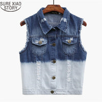 2017 New fashion two-color Korean sll-match POLO collar sleeveless pocket denim hole jacket 180F 30 - On Trends Avenue