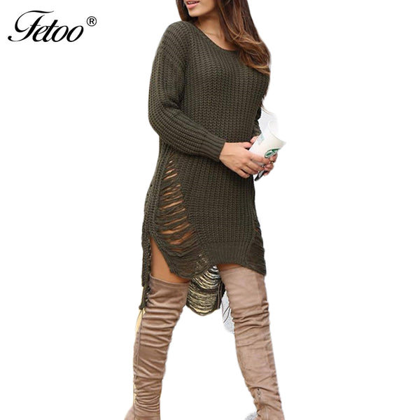 Fetoo Fashion Hole Ripped Knitted Sweater Dress Women O Neck Long Sleeve Dress Winter Warm Mini Casual Party Dresses vestidos - On Trends Avenue