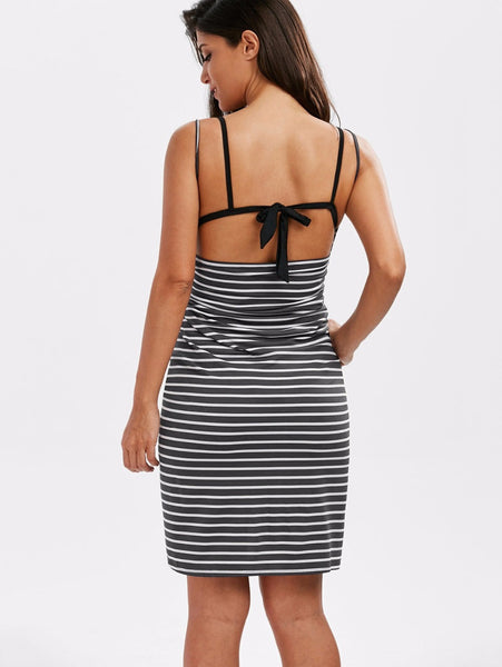 08608b94d69d ... Gamiss 2017 Sexy Backless Women Summer Striped Dress V-neck Spaghetti  Strap Women Knee-
