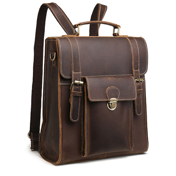 Crazy Horse Cowhide Genuine Leather Bag For Men Vintage Laptop Backpack Famous Brand Business Messenger Shoulder Bag New - On Trends Avenue