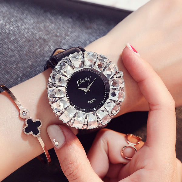 Big Bling Rhinestone Quartz Watch Woman Dress Wristwatches Leather Band Strap With Gift Box - On Trends Avenue