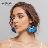 Artilady 10 colors boho tassel earrings handmade long earring colorful drop earring for women jewelry gifts - On Trends Avenue