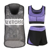 2017 New Bra+Blouse+Shorts+Pants 3 or 4 Pieces Women Yoga Sets Solid Letters Outdoor Running Jogging Jumpsuit Sportswear Fitness - On Trends Avenue