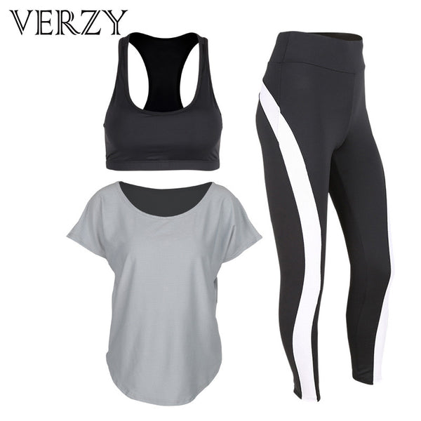 2017 New Grey Women Yoga Set Tights Sportswear Gym Running Pants Fitness Breathable Sports Bra T-shirt Outdoor High Elasticity - On Trends Avenue