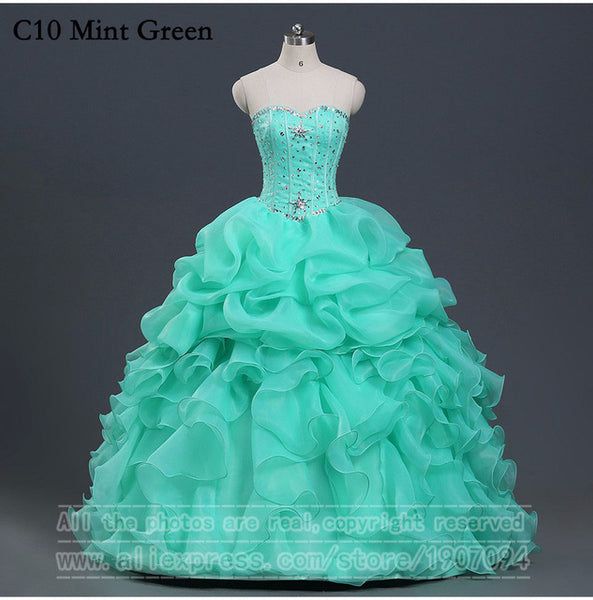 Mint Green Quinceanera Dresses Ball Gown With Beads Vestido de quinceanera vestidos de noi Vestidos De 15 Anos - On Trends Avenue