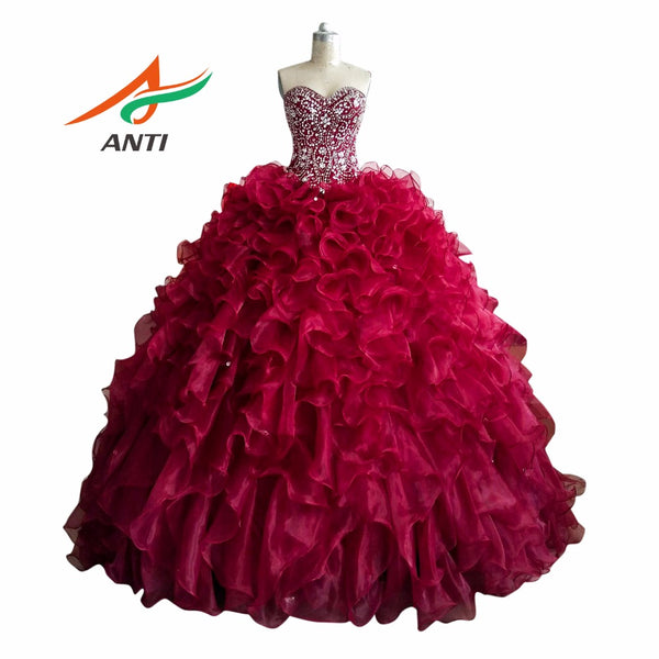 Quinceanera Dresses Beading Rhinestones Backless Plus Size Princess Vestidos De Quinceaneras Sweet 16 Dresses - On Trends Avenue
